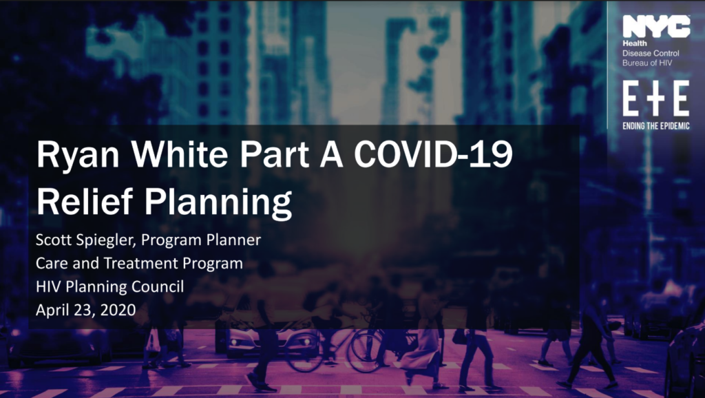 Ryan White Part A COVID-19 Relief Planning