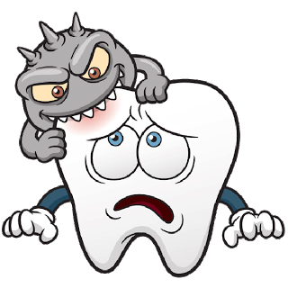 Cavity biting into a tooth